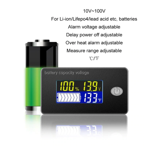 LCD 12V 24V 36V 48V 4 in 1 Battery Status Voltage Voltmeter Monitor Meter Lifepo AGM