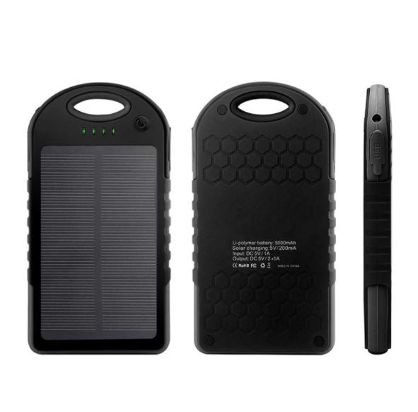 Waterproof Power Bank 5000mAh Portable Solar Mobile Phone Battery Charger Pack Dual USB with LED - Sales67