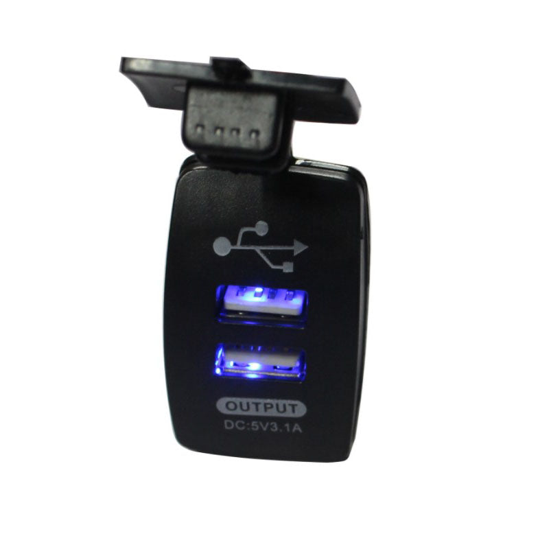 Dual USB Socket 5v 3.1 Amps Blue LED for Car Caravan Camper Boat Waterproof - Sales67