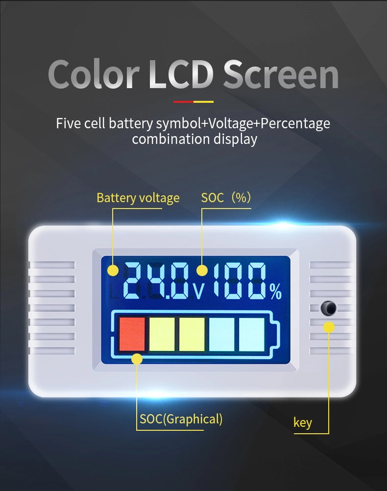 Colour LCD 12V 24V 48V 60V 72V 100V Battery Status Voltage meter Monitor - Sales67