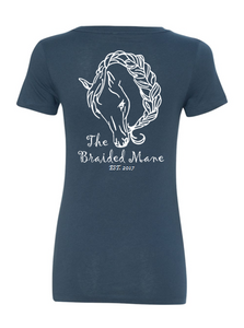 The Braided Mane Logo V-Neck in Navy