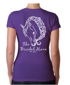 The Braided Mane Logo V-Neck in Purple
