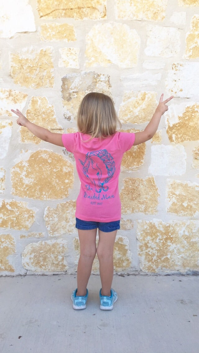 The Braided Mane Logo Child's Shirt in Pink