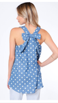 Light Denim Blue Polka Dot Tank