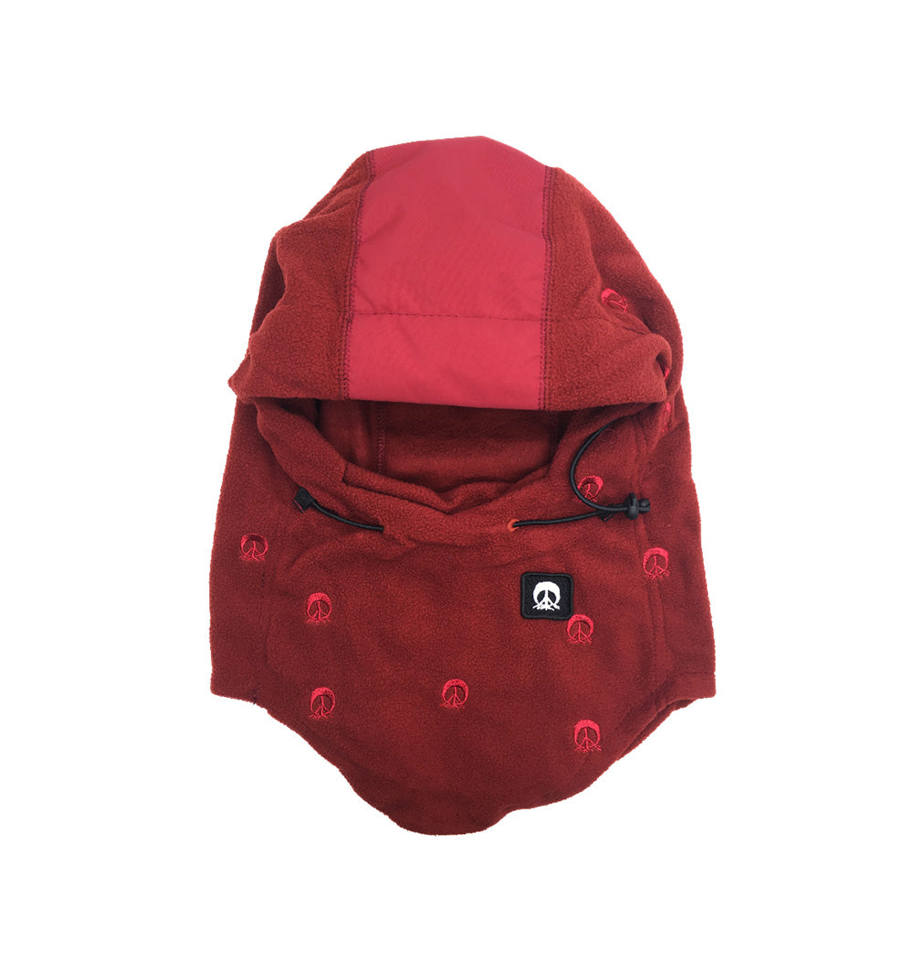Hooded Face Mask - Burgundy