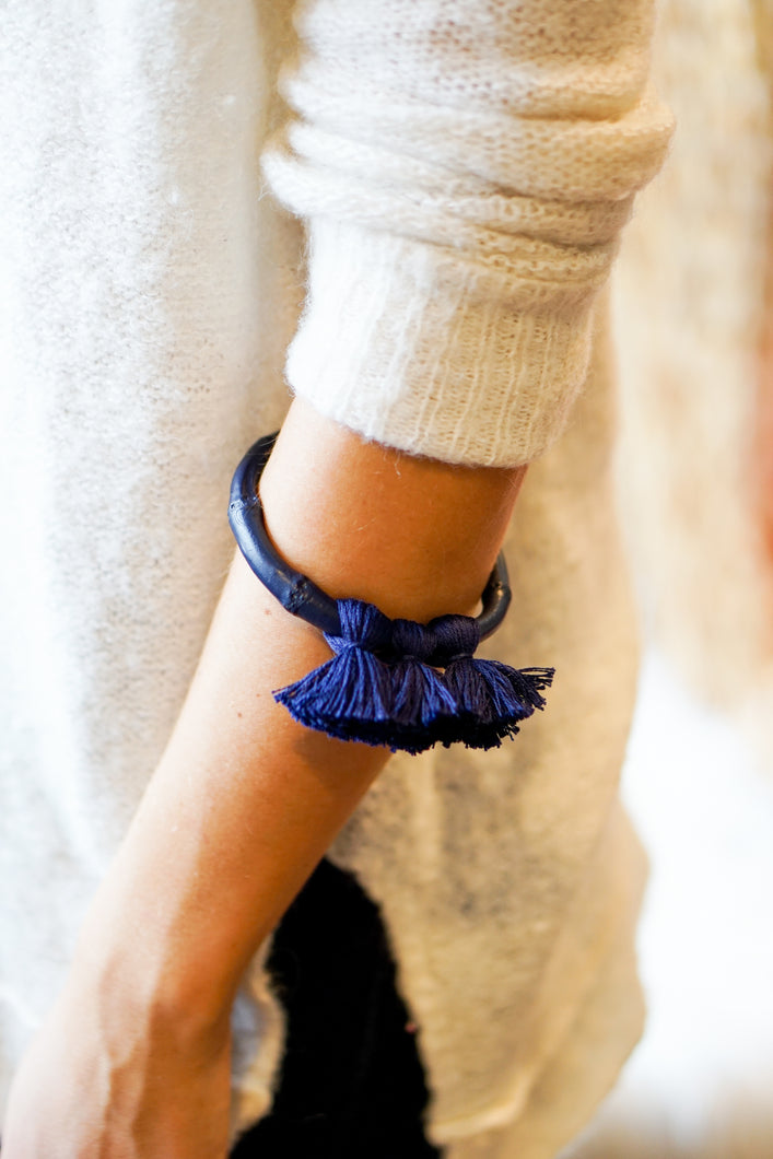 Cabana Tassel Bamboo Bangle