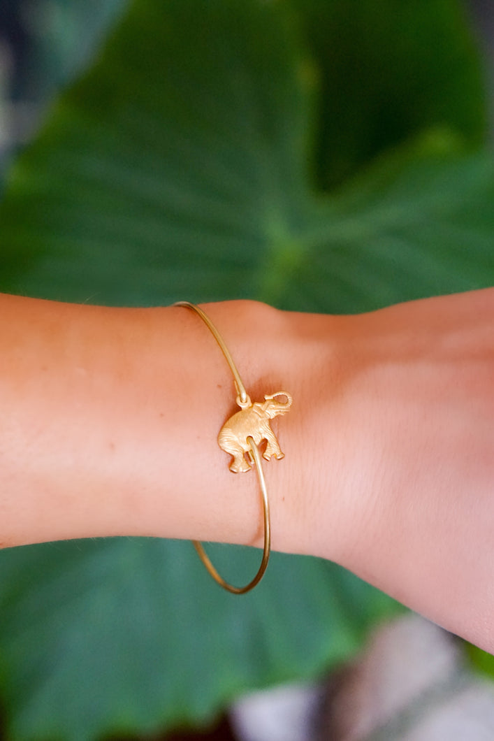Gold Elephant Bangle Bracelet