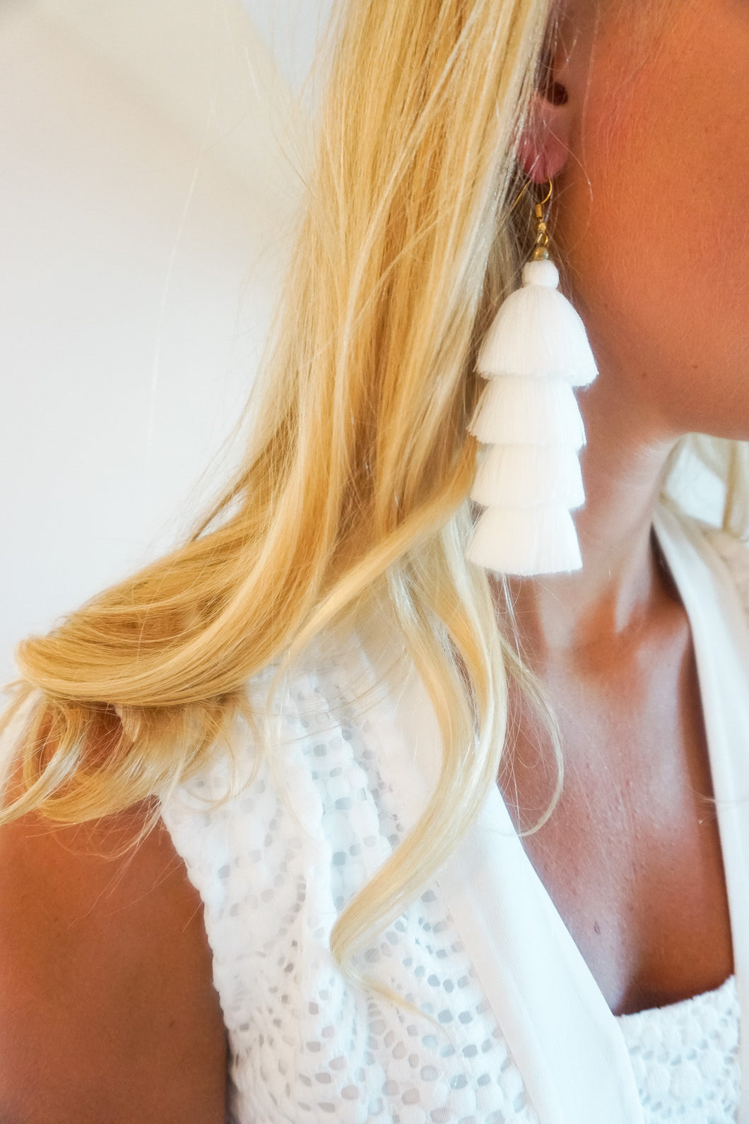 White Four-Tier Tassel Earrings