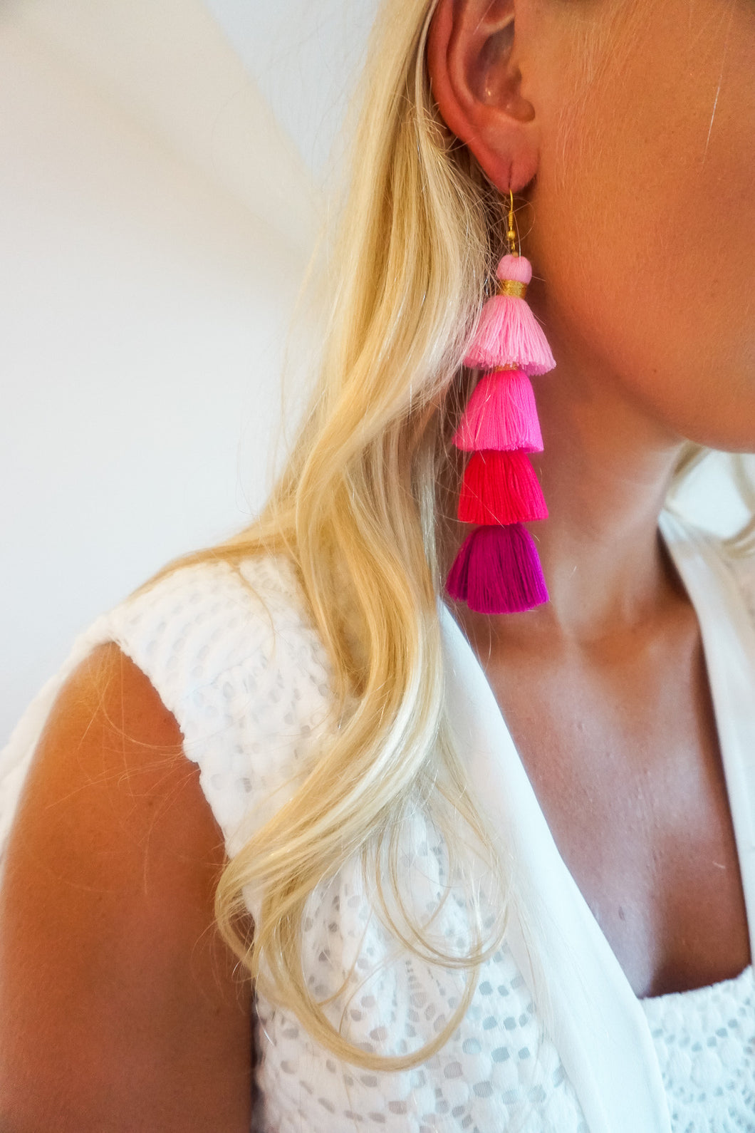 Shades of Pink Four-Tier Tassel Earrings