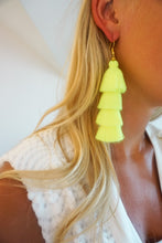 Chartreuse Four-Tier Tassel Earrings