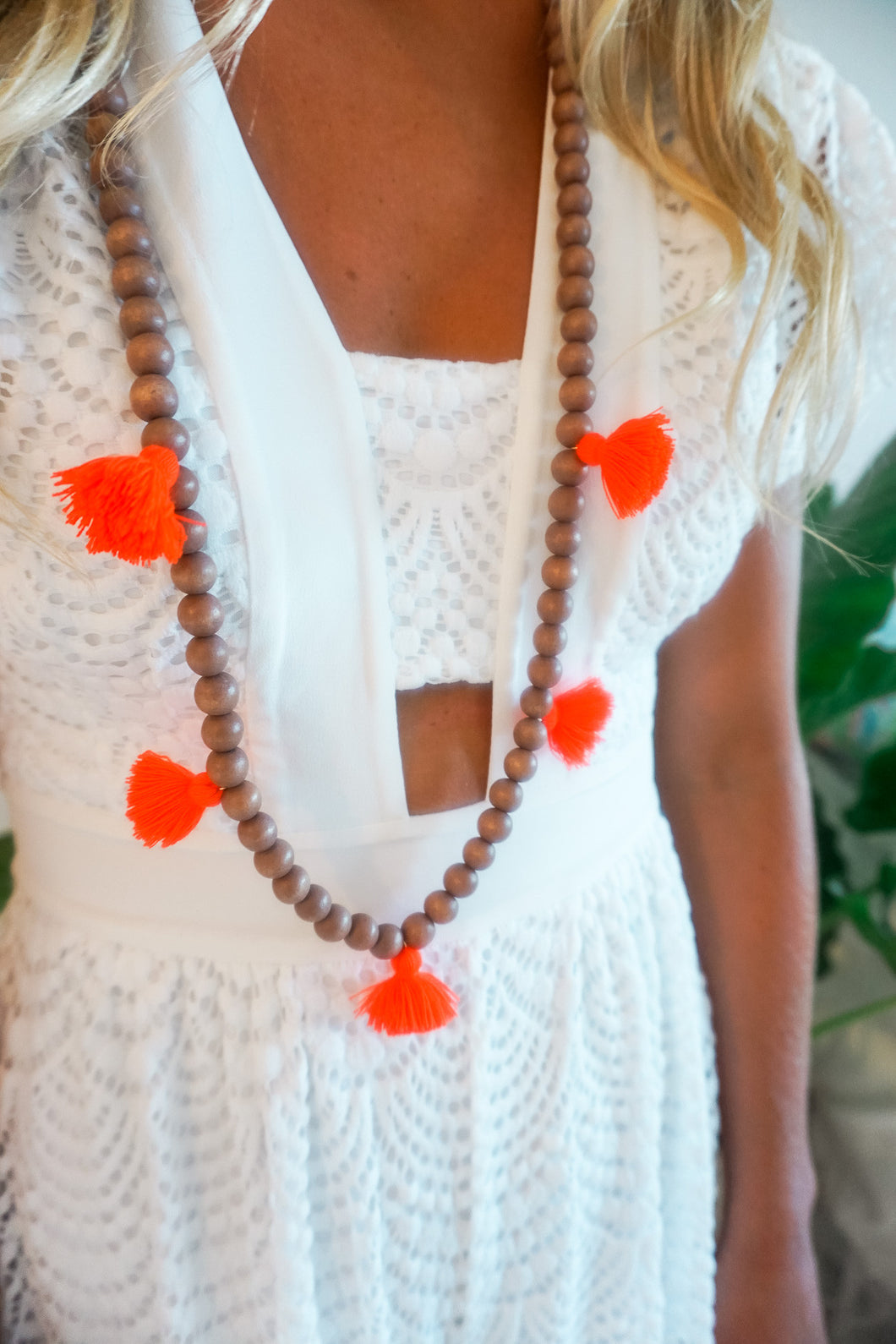 Bright Coral Beaded Mini Tassel Necklace