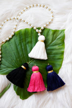 Faux pearl tassel necklace