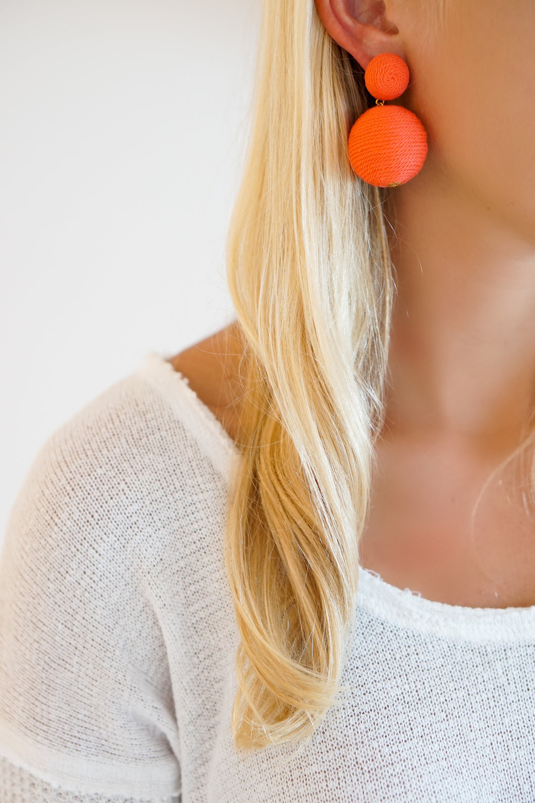 Coral Silk Bon Bon Earrings