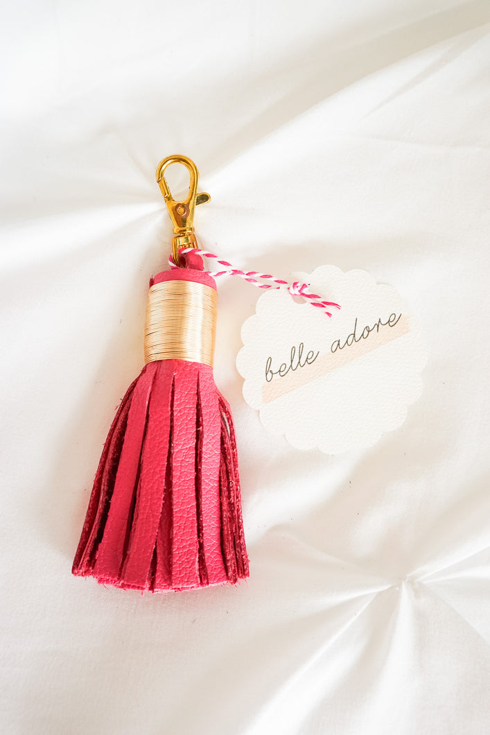 Pink 'Belle Adore' Leather Tassel Keychain