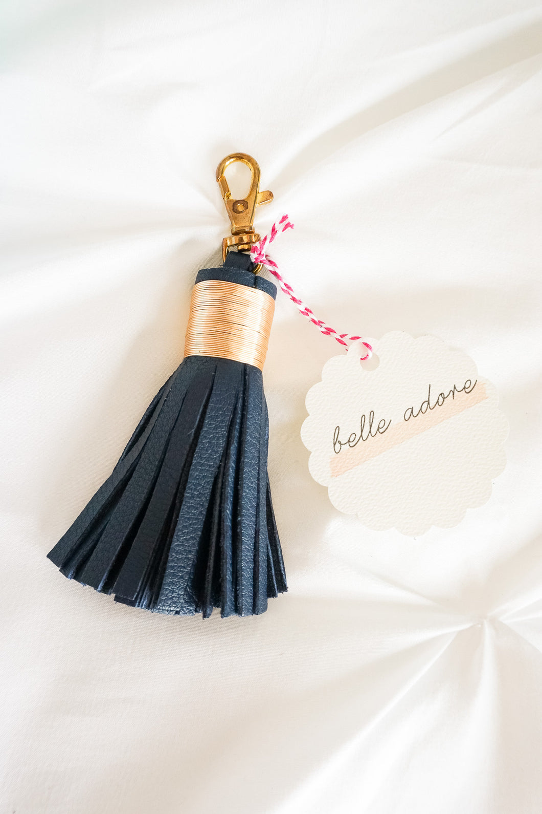 Navy 'Belle Adore' Leather Tassel Keychain