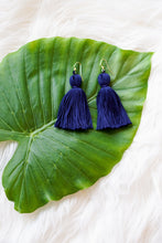 Navy blue tassel earring