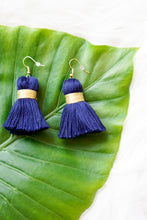 Navy and gold tassel earrings