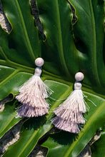 Cream Tiered Silk Tassel Earrings