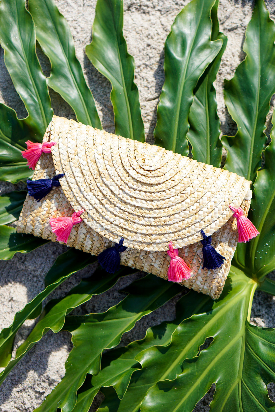 Navy and Pink Tassel Straw Clutch