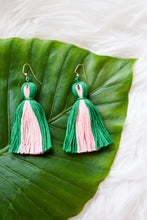 pink and green tassel earrings