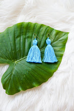 sky blue tassel earrings