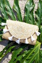 White Straw Tassel Clutch