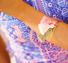 Pink and Gold Tassel Bracelet