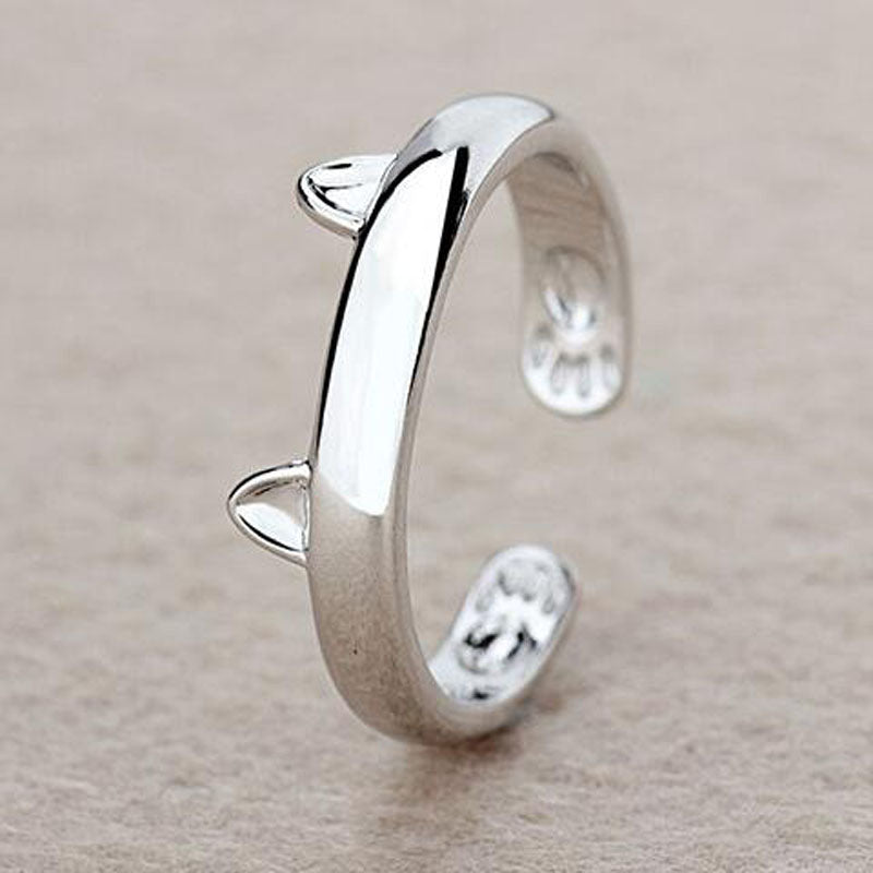 Silver Plated Cat Ear Ring Cute Design Adjustable