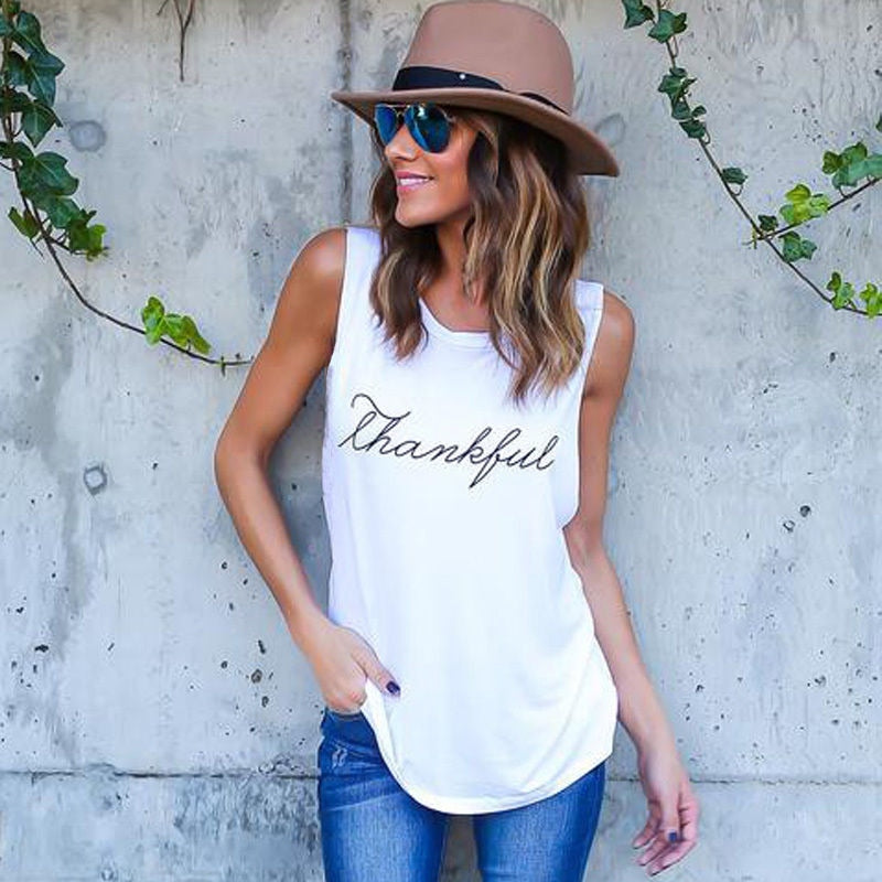 "New Fashion T-Shirt Letter Print ""Thankful"" - Plus Size"