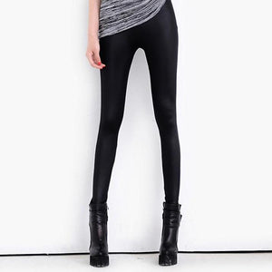 Plus Size Warm High Waist Sexy Faux Leather Leggings