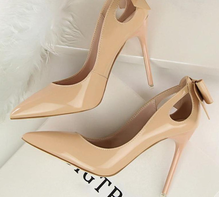 Fashion Leather Cut-Outs Bowtie Pointed Toe High Heels