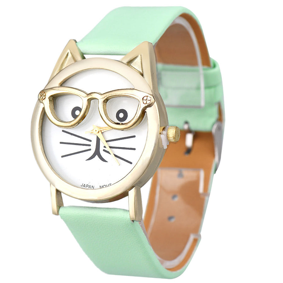 Cat Watch With Golden Glasses and Leather Printing