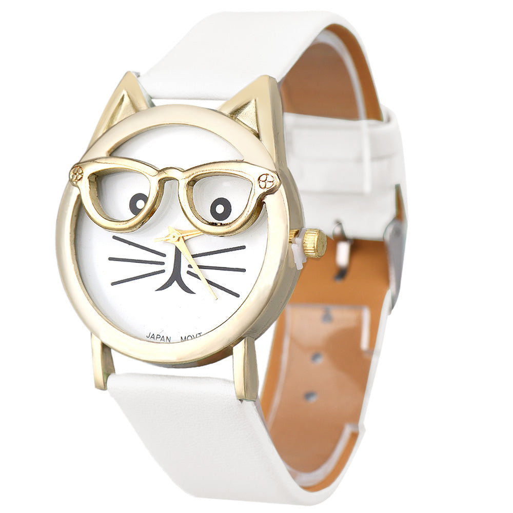 FREE Cat Watch With Golden Glasses and Leather Printing