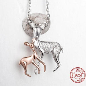 Lovely Mother and Baby Deer Chain Pendant Necklace