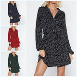 Casual Fall Sexy Short Dress Loose Dot Long Sleeve