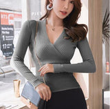 50% OFF Sexy Deep V Neck Long Sleeve Sweater