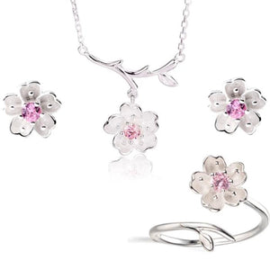 925 Sterling Silver Pink Crystal Cherry Blossoms Flower Set