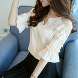 50% OFF Chiffon Women Shirt Fashion Short Sleeve V-Neck Lace Blouse