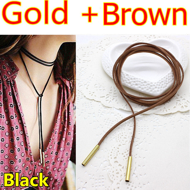 New choker necklace leather Long Rope Sexy Statement Steampunk Tube