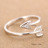 Fashion 925 Silver Plated Arrow crystal Adjustable Ring