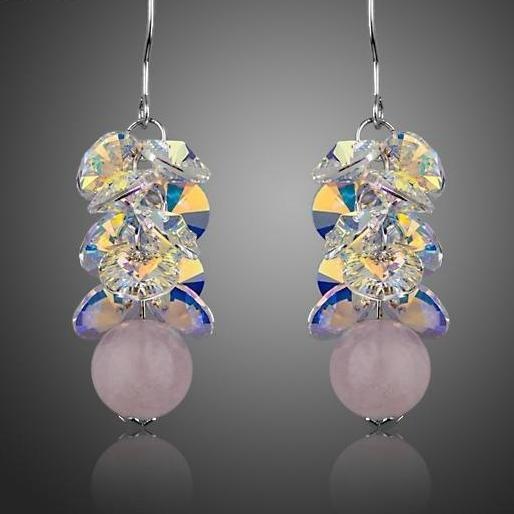Fascinating Cluster Color Gradient Stellux Austrian Crystal with Pink Beads Drop Earrings