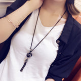 New Fashion All-match Sweater Chain Necklace Tassel Sweater Long Cross