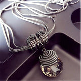 Long Crystal Necklace Fashion Black Chain Drops Maxi Necklaces Pendants Kolye Collier