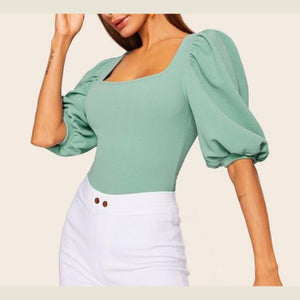 Elegant Elastic Puff Sleeve Solid Top Half Sleeve