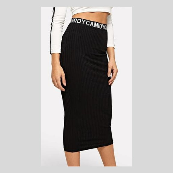Black High Waist Letter Ribbed Knit Pencil Casual  Skirts