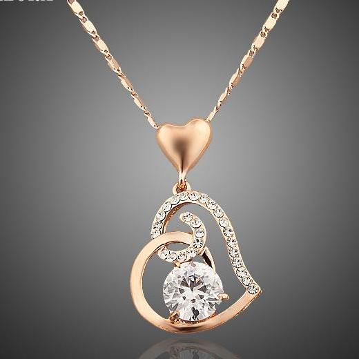 Rose Gold Stellux Crystals Heart  Necklace