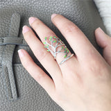 Lovely Vintage 925 Sterling Silver Leaves Open Ring-Handmade