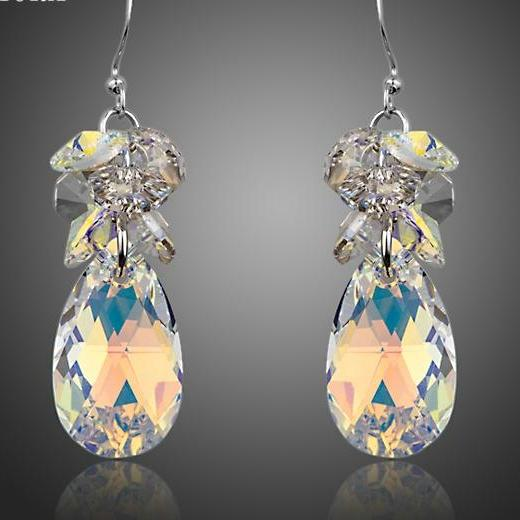 Gorgeous Cluster Gradual Change Stellux Austrian Crystal Water Drop Earrings