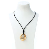 New  Luxury  Black Leather Long Necklace