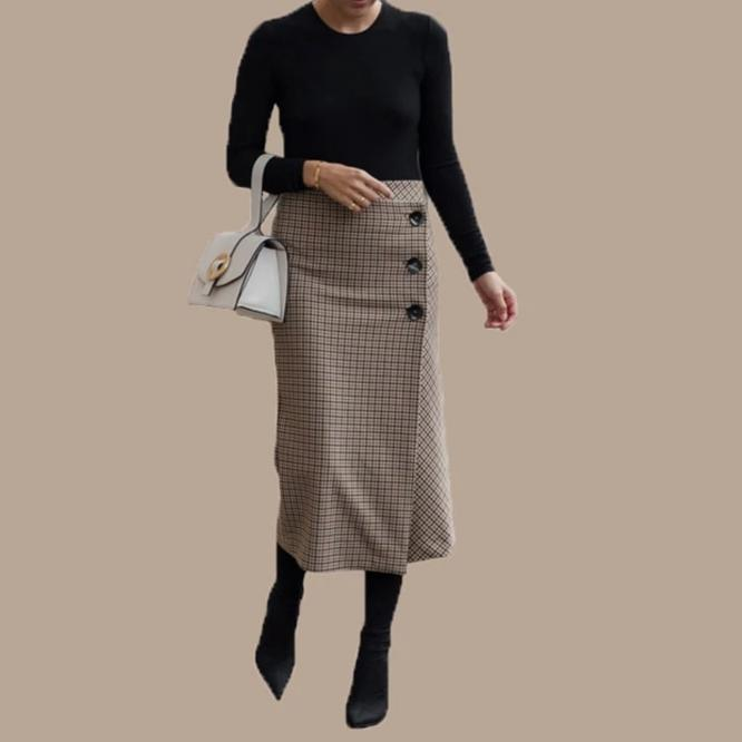 Elegant Hight Waist Asymmetry Woolen Midi Tanya Skirt